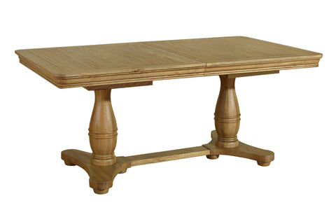 Double Pedestal French Inspired Loire Oak Extending Table Closed