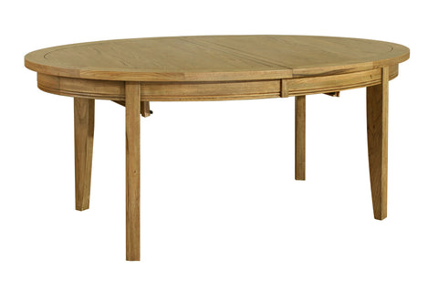 Loire Extending Oak French Oval Dining Table Closed