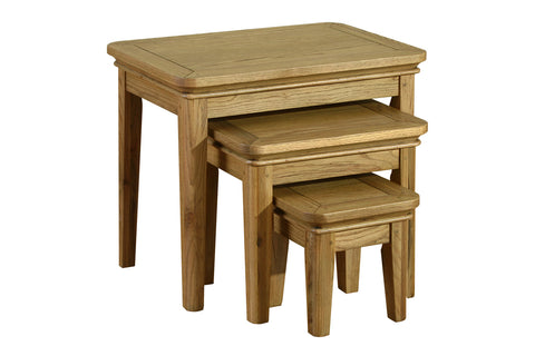 Loire French Oak Set of 3 Nest of Tables