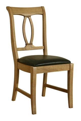 Loire French Oak Dining Chair with Padded Chocolate Brown Faux Leather Seat