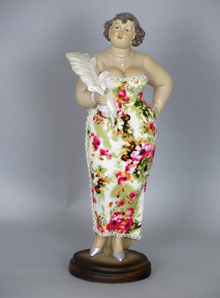 Fiorella Tuttodonna Curvy Buxom Busty Lady Woman Oranment Figurine with Feather