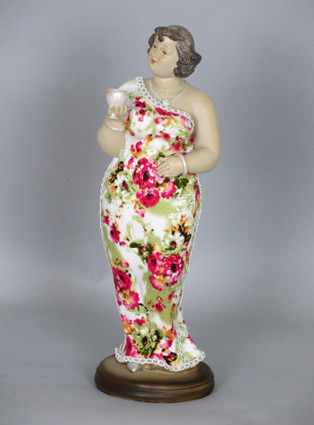 Fiorella Tuttodonna Curvy Buxom Busty Lady Woman Ornament Figurine with Wine Glass