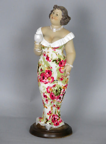 Fiorella Tuttodonna Curvy Buxom Busty Lady Woman Ornament Figurine with Wine Glass and Low Cut Gown
