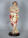 Fiorella Tuttodonna Curvy Buxom Busty Lady Woman Ornament Figurine with Rose close to chest