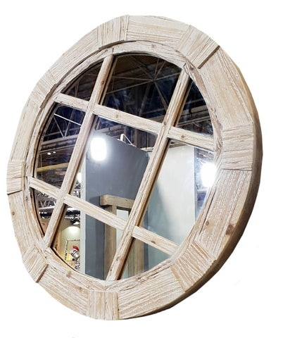 Drift Wood Diamond Style Round Wall Mirror