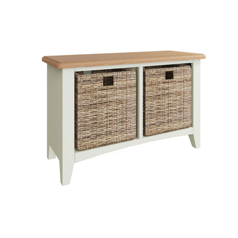 Fresh White with Oak Top Hall Bench with Basket Storage