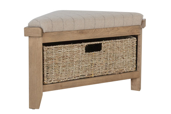 Rustic Oak Effect Corner Storage Bench with Padded Beige Seat