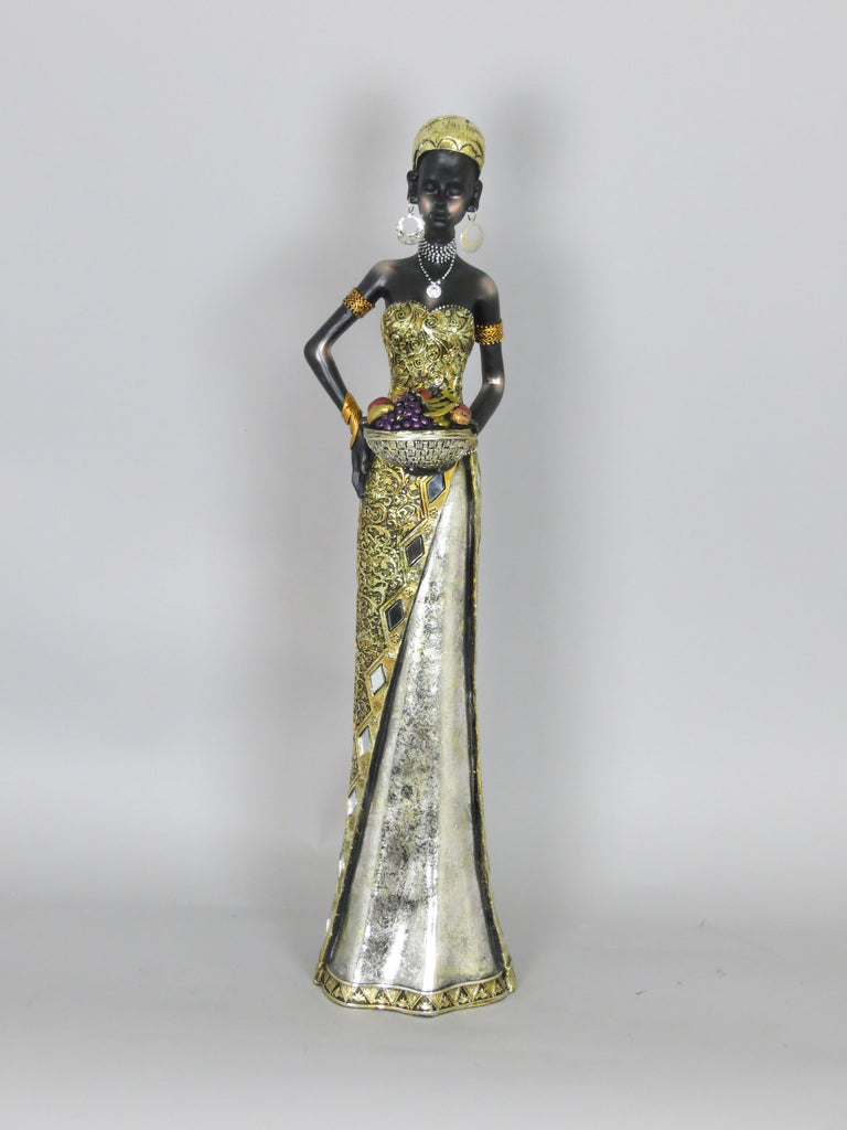 Tall African Lady Woman Ornament Figurine Gold Silver