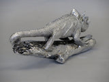 Silver Electroplated Chameleon on Branch Ornament Figurine