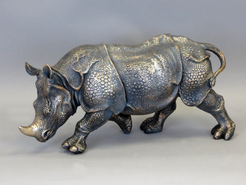 Ceramic Armoured Rhino Rhinocerous Brass Bronzed Finished Ceramic Ornament Figurine
