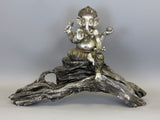 Indian Ganesha Elephant God Silver Gold Glittered Ornament Figurine Sat on Driftwood Log