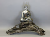 Silver Meditating Lotus Buddha Ornament Sat on Diftwood Base Figurine with Golden Clothing