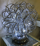 Silver Swirl Ball Metal Wire LED Table Lamp