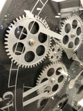 Square Silver & Black Face Mechanical Gear Wall Clock