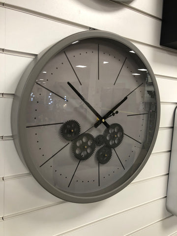 Sophisticated Grey & Black Round Mechanical Gear Wall Clock