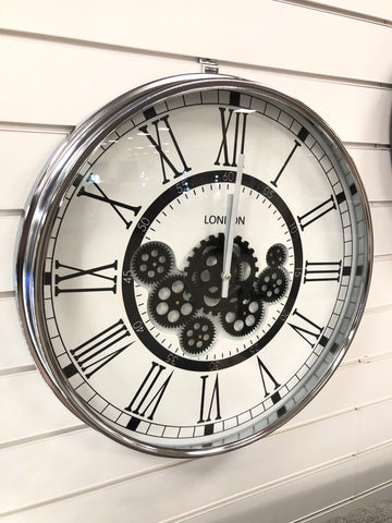 Silver & White Round Mechanical Gear Wall Clock