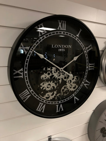 Black & Grey London Round Mechanical Gear Wall Clock