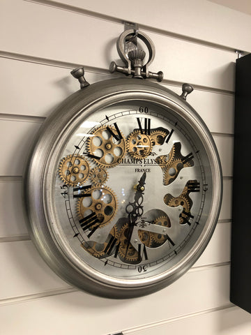 Silver & Copper Effect Pocket Watch Mechanical Gear Wall Clock