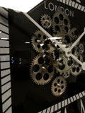 Square Silver & Black Mechanical Gear Wall Clock