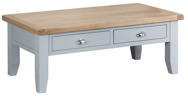 Oak & Hardwood Grey Large Coffee Table