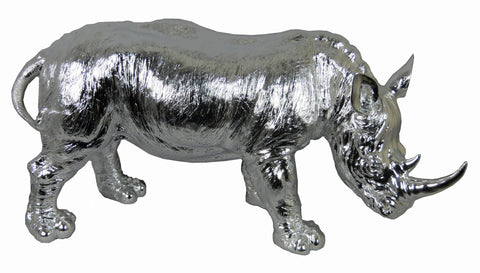 Electroplated Silver Large Rhinoceros Rhino Ornament