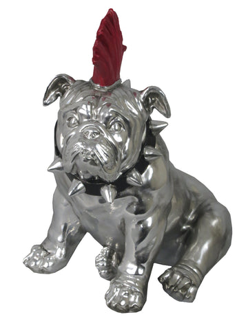 Large Silver Sitting Bulldog Ornament with Red Mohawk