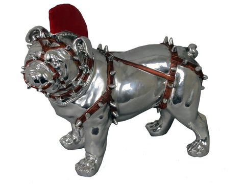 Standing Silver Bulldog Ornament in Red Body Harness