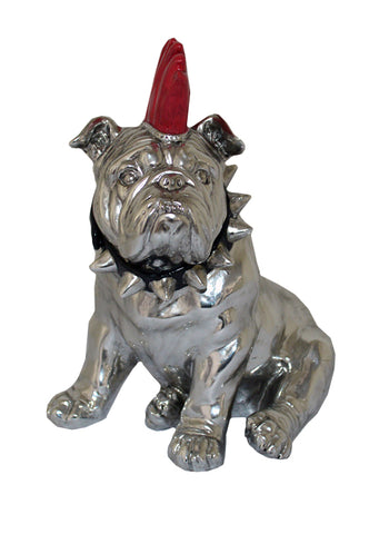 Small Silver Sitting Bulldog Ornament with Red Mohawk