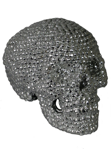 Silver Studded Skull Ornament