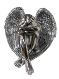 Sitting Silver Weeping Angel Ornament