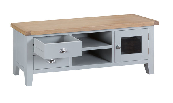 Oak & Hardwood Grey Large TV Unit