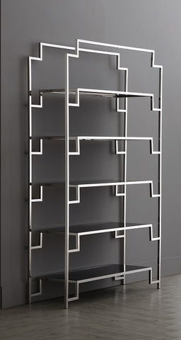 Silver Stainless Steel & Clear Glass Shelving Unit