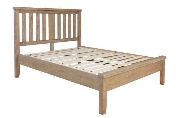 Warm Rustic Oak Effect Double Bed Frame