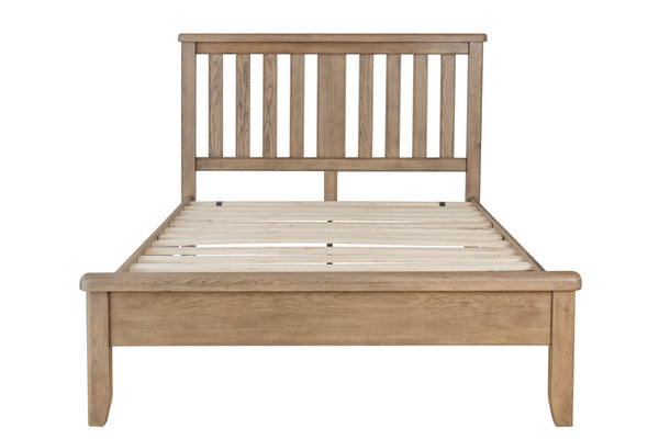Warm Rustic Oak Effect King Size Bed Frame