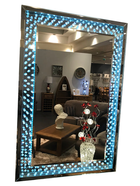 LED Light Up Wall Mirror with Crystal Encased Frame