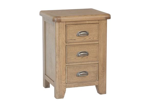 Warm Rustic Oak Effect Large Bedside Table