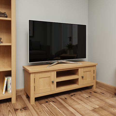 Oak & Hardwood Rustic Large TV Cabinet
