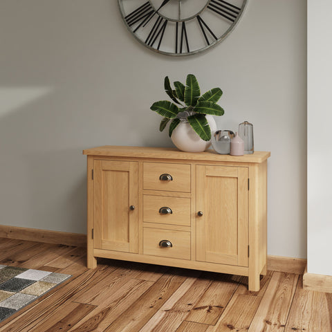 Oak & Hardwood Rustic Large Sideboard