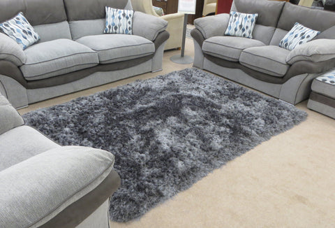 Luxury Grey Shag Pile Thick Luxurious Floor Rug Available in Various Sizes