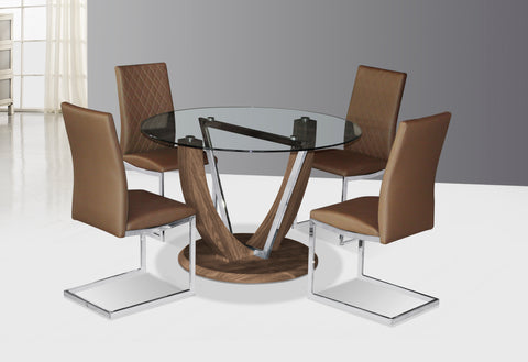 Circular Glass Top Dining Table with Wood Effect & 4 Quilted Back Dining Chairs