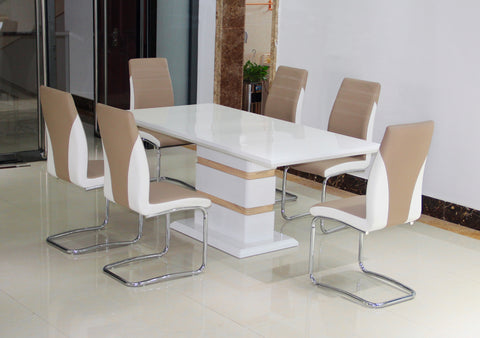 Rectangular White High Gloss Rectangular Dining Table & 4 Two Tone Faux Leather Chairs