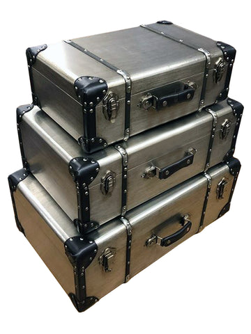Silver Steam Punk Triple Suitcase Trunk Storage Boxes
