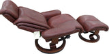Manhattan Leather Swivel Recliner Chair with Stool in Burgundy or Brown
