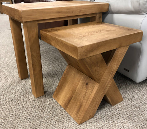 Maxi Oak X Shaped Nest of Tables