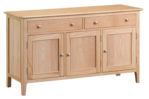 Oak & Hardwood Danish Style 3 Door Sideboard