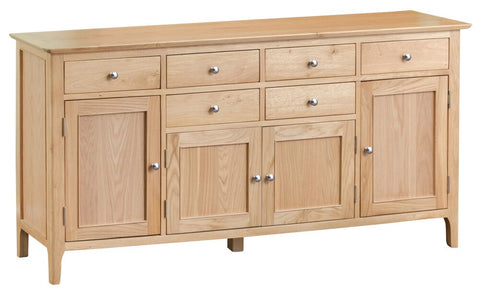 Oak & Hardwood Danish Style 4 Door Sideboard