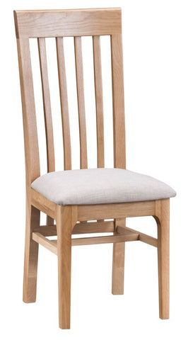 Oak & Hardwood Danish Style Slat Back Fabric Cushion Dining Chair