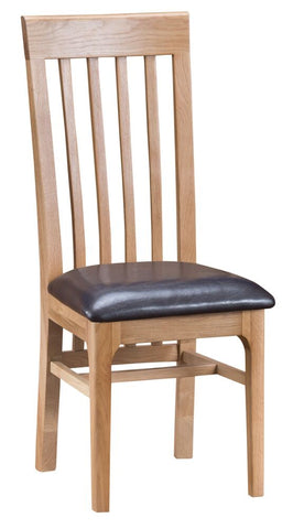 Oak & Hardwood Danish Style Slat Back PU Leather Cushion Dining Chair
