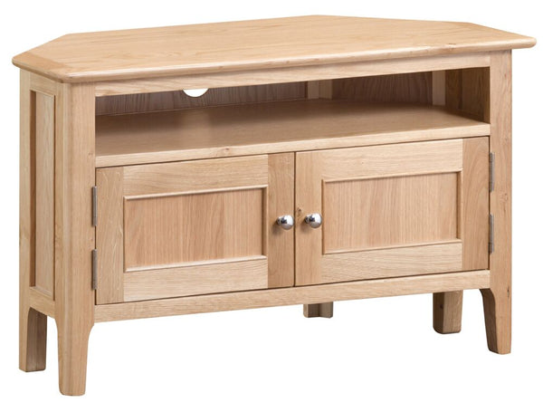Oak & Hardwood Danish Style Corner TV Cabinet