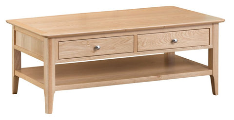 Oak & Hardwood Danish Style Coffee Table with Drawers